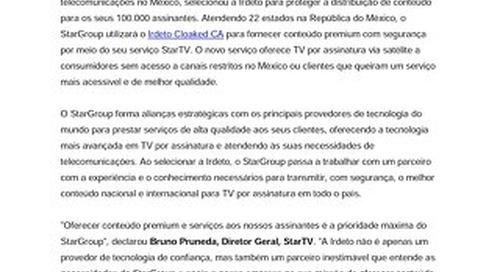 StarGroup seleciona Irdeto para fornecer conteúdo com segurança por meio do seu serviço StarTV