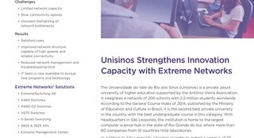 Unisinos Strengthens Innovation Capacity with Extreme Networks