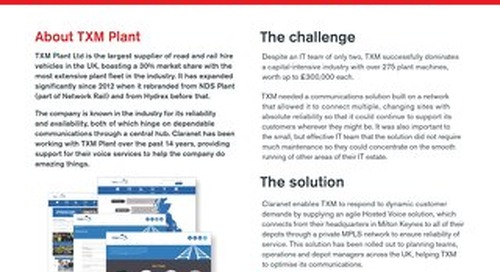 TXM Plant kept responsive with Claranet's communications solution