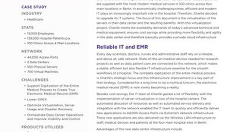 University Hospital in Europe Relies on Extreme Networks Solutions to Maximize Server Virtualization