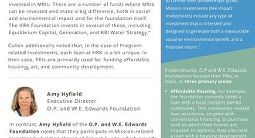 Mission Investing: Real Stories from Real Grantmakers