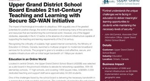 Upper Grand District School Board Enables 21st Century Teaching and Learning with Secure SD-WAN Initiative