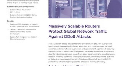 Massively Scalable Routers Protect Global Network Traffic Against DDoS Attacks