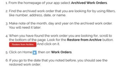 How to Restore an Archived Work Order