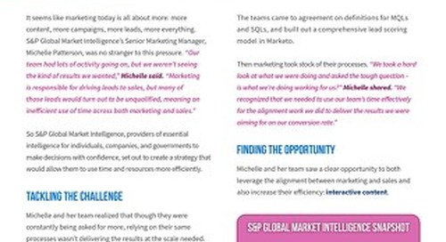 How S&P Global Market Intelligence Drove Higher Quality Leads Through Marketing and Sales Alignment
