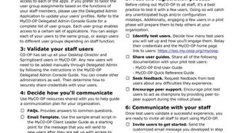 MyCO-OP Pre-Rollout Checklist