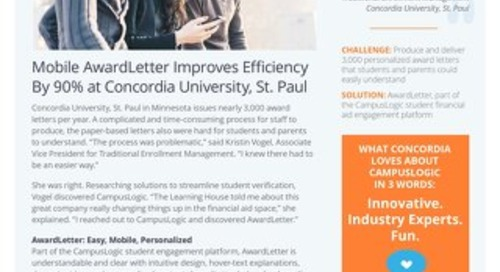 Mobile AwardLetter Improves Efficiency By 90% at Concordia University, St. Paul