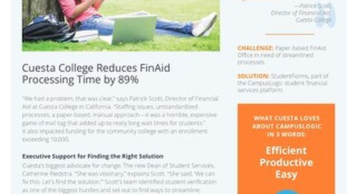 Cuesta College Reduces FinAid Processing Time by 89%