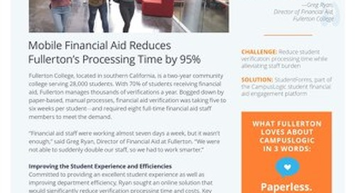 Mobile Financial Aid Reduces Fullerton's Processing Time by 95%