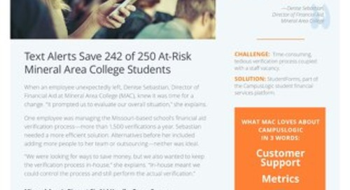 Text Alerts Save 242 of 250 At-Risk Mineral Area College Students
