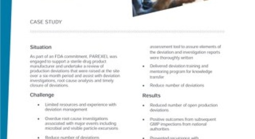 Case study deviation management