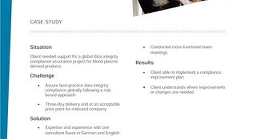 Case study data integrity assessment