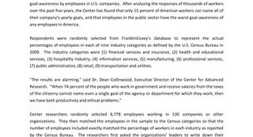 Special Report Goal Awareness in US Companies