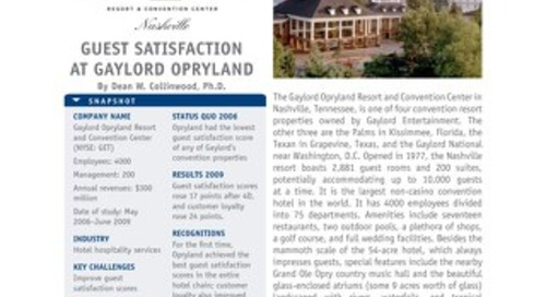 Guest Satisfaction at Gaylord Opryland