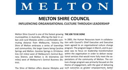 Melton Shire Influencing Organisational Culture through Leadership