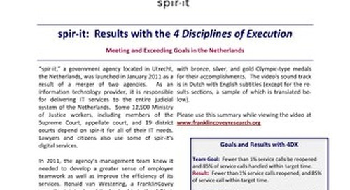 spir-it: Results with the 4 Disciplines of Execution