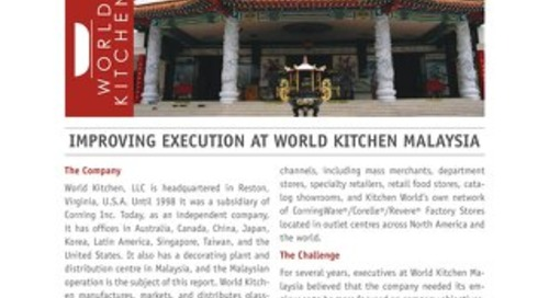 Improving Execution at World Kitchen Malaysia