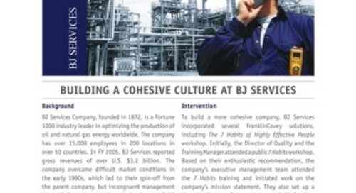 Building a Cohesive Culture at BJ Services