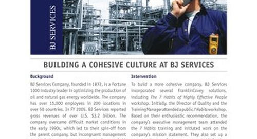 Building a Cohesive Culture at BJ Services