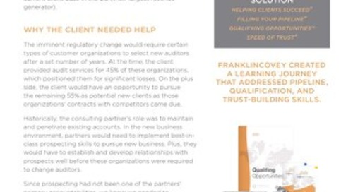 CASE STUDY Pro Services Firm Ready for Marketplace Shakeup