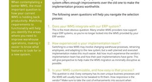 7 Things To Consider Before Replacing Your WMS