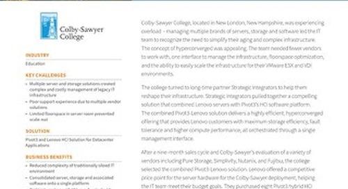 INTERNAL Win Report: Pivot3 & Lenovo Provide Infrastructure Refresh for NH College