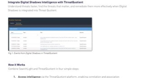 Digital Shadows ThreatQuotient Integration Datasheet