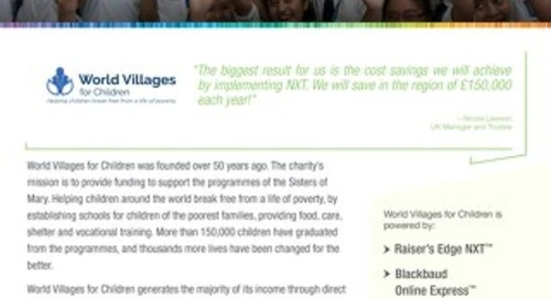 World Villages for Children | Raiser's Edge NXT