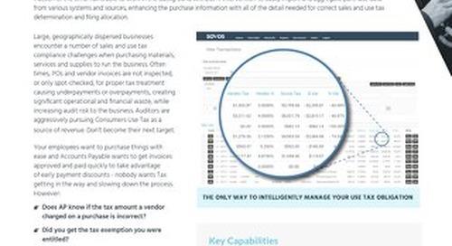 Sovos Use Tax Manager Datasheet