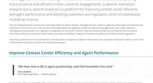 Customer Interaction Analytics for Finance and Banking