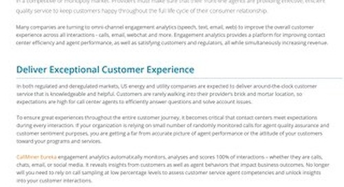 Customer Interaction Analytics for Energy and Utilities