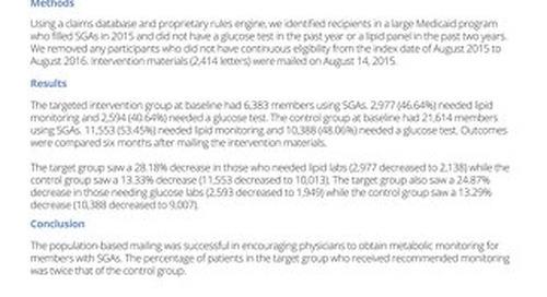 Metabolic Monitoring of Atypical Antipsychotics