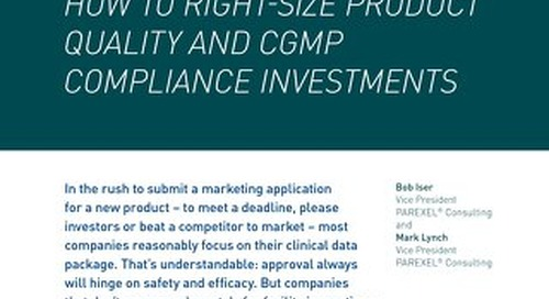 How to Right-Size Quality and GCMP Compliance Investments
