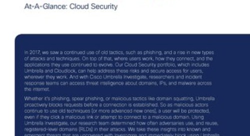 Cisco 2018 Annual Cybersecurity Report At-a-Glance: Cloud Security
