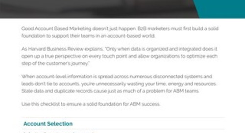 Account Based Marketing Foundation Checklist  |  Engagio
