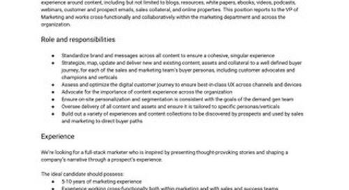 Content Experience Manager Job Description