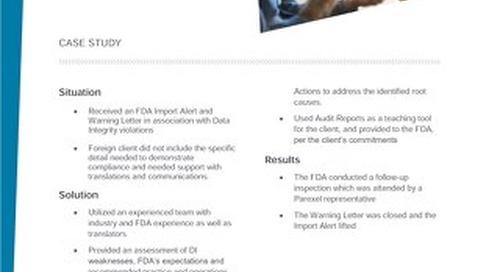 Case Study data integrity warning letter
