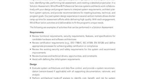 Generic Solution Assessment Data Sheet