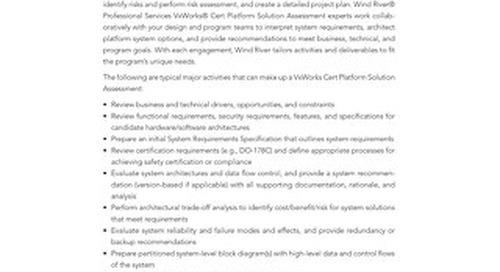 VxWorks Cert Solution Assessment