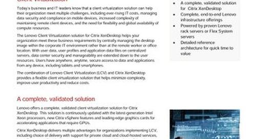 Lenovo Client Virtualization Reference Architecture for Citrix XenDesktop
