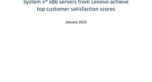 TBR - System x s86 Servers From Lenovo Achieve Top Customer Satisfaction Scores
