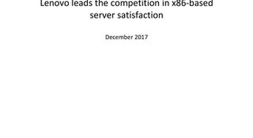 TBR - Lenovo Outscores Competitors in x86-Based Server Customer Satisfaction 2H17