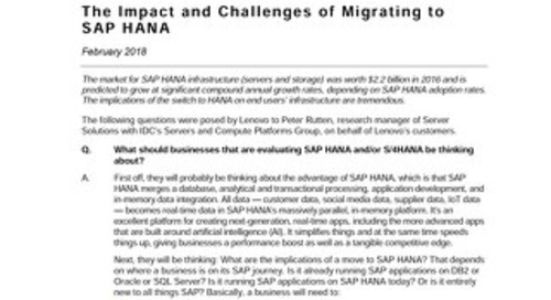 IDC - The Impact and Challenges of Migrating to SAP HANA