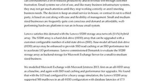 Demartek - Supporting Microsoft Exchange on the Lenovo S3200 Hybrid Array