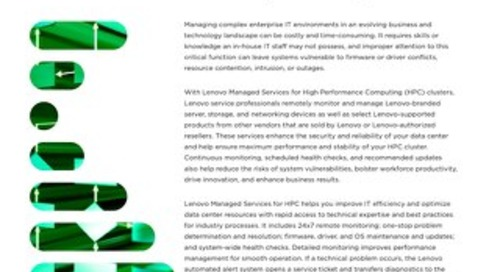 Lenovo Managed Services for HPC Clusters