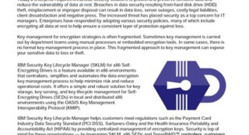 Security Key Lifecycle Manager for x86 Self Encrypting Drives