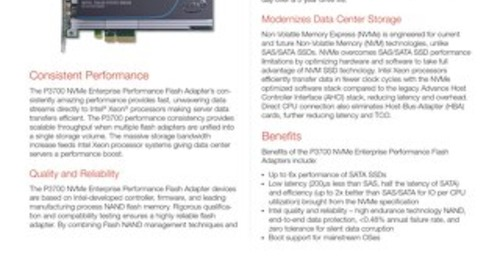 P3700 NVMe Enterprise Performance Flash Adapters