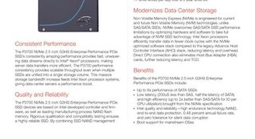 P3700 NVMe 2.5 inch G3HS Enterprise Performance PCIe SSDs