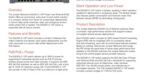 Juniper EX2300-C-12P Ethernet Switch
