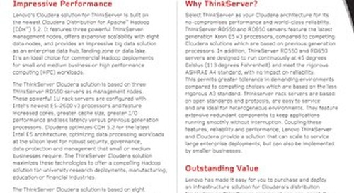 Lenovo Cloudera Solution for ThinkServer
